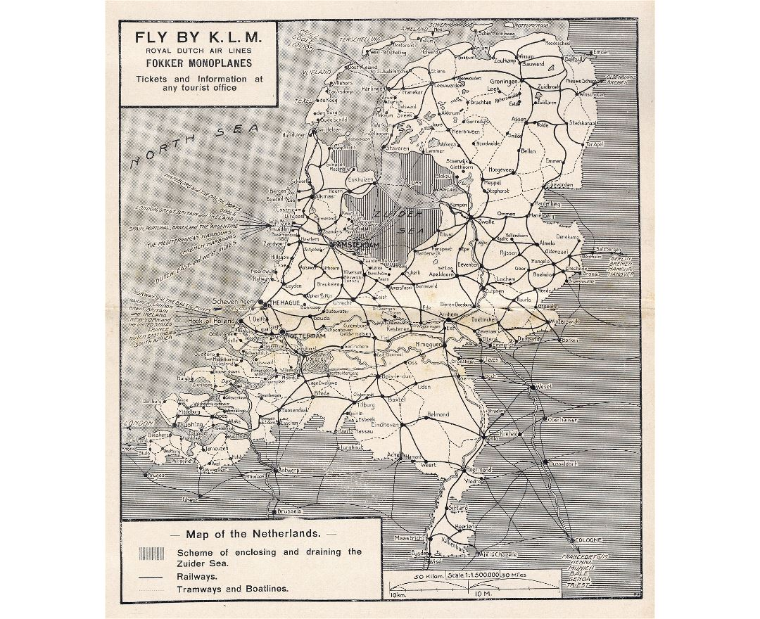 Large old railways map of Netherlands - 1929