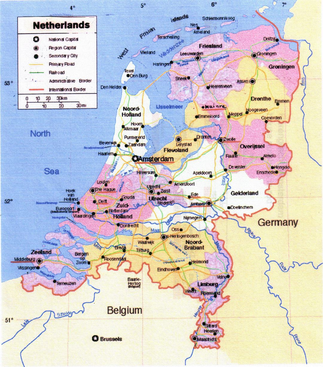 Large political and administrative map of Netherlands