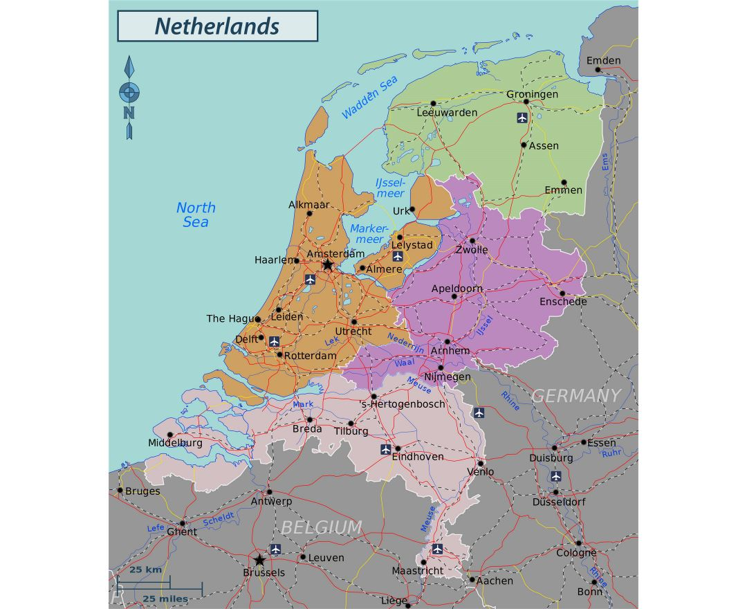 Large regions map of Netherlands