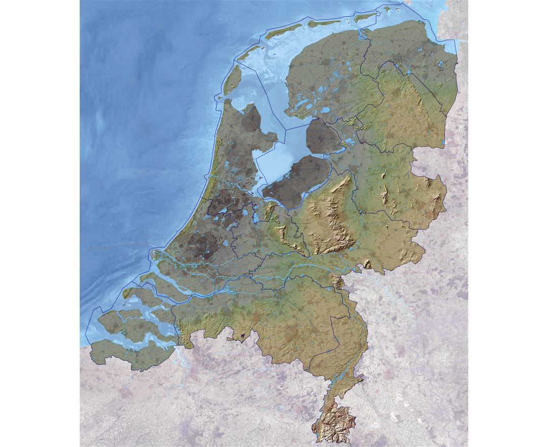 Large relief map of Netherlands