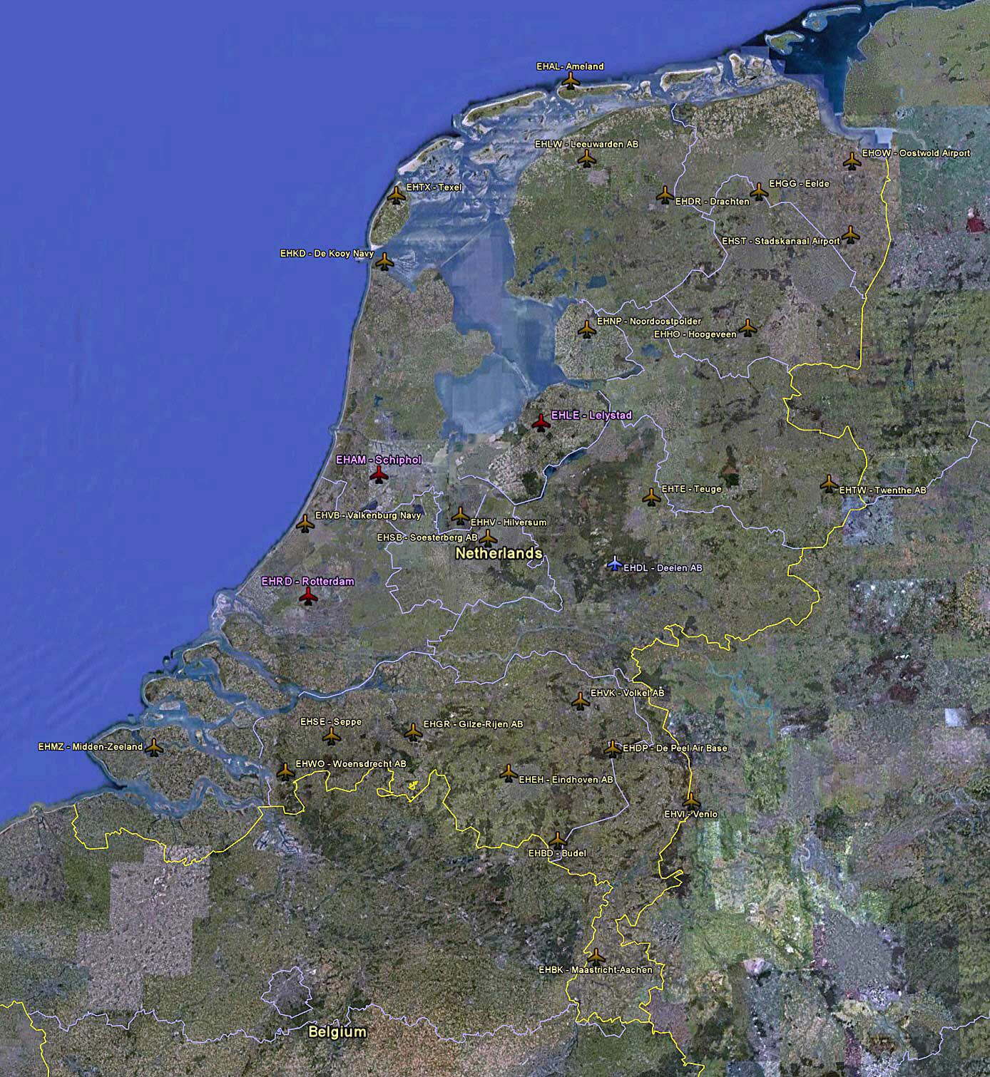 Large satellite map of Netherlands with airports
