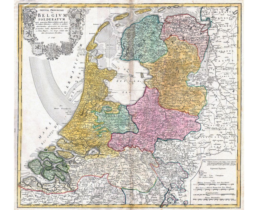 Large scale old map of Netherlands (Holland) - 1748