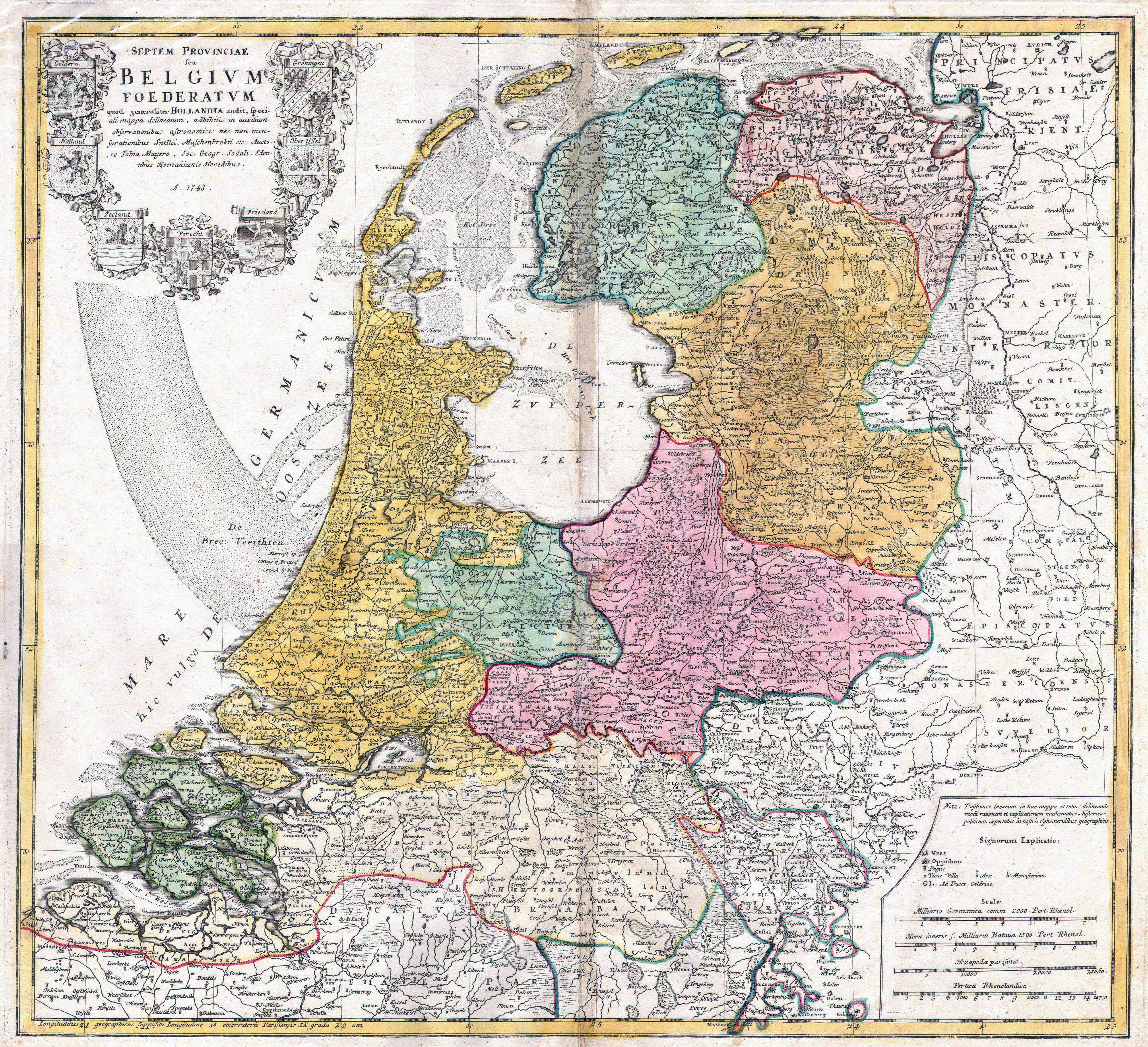 Large scale old map of Netherlands Holland 1748 Netherlands