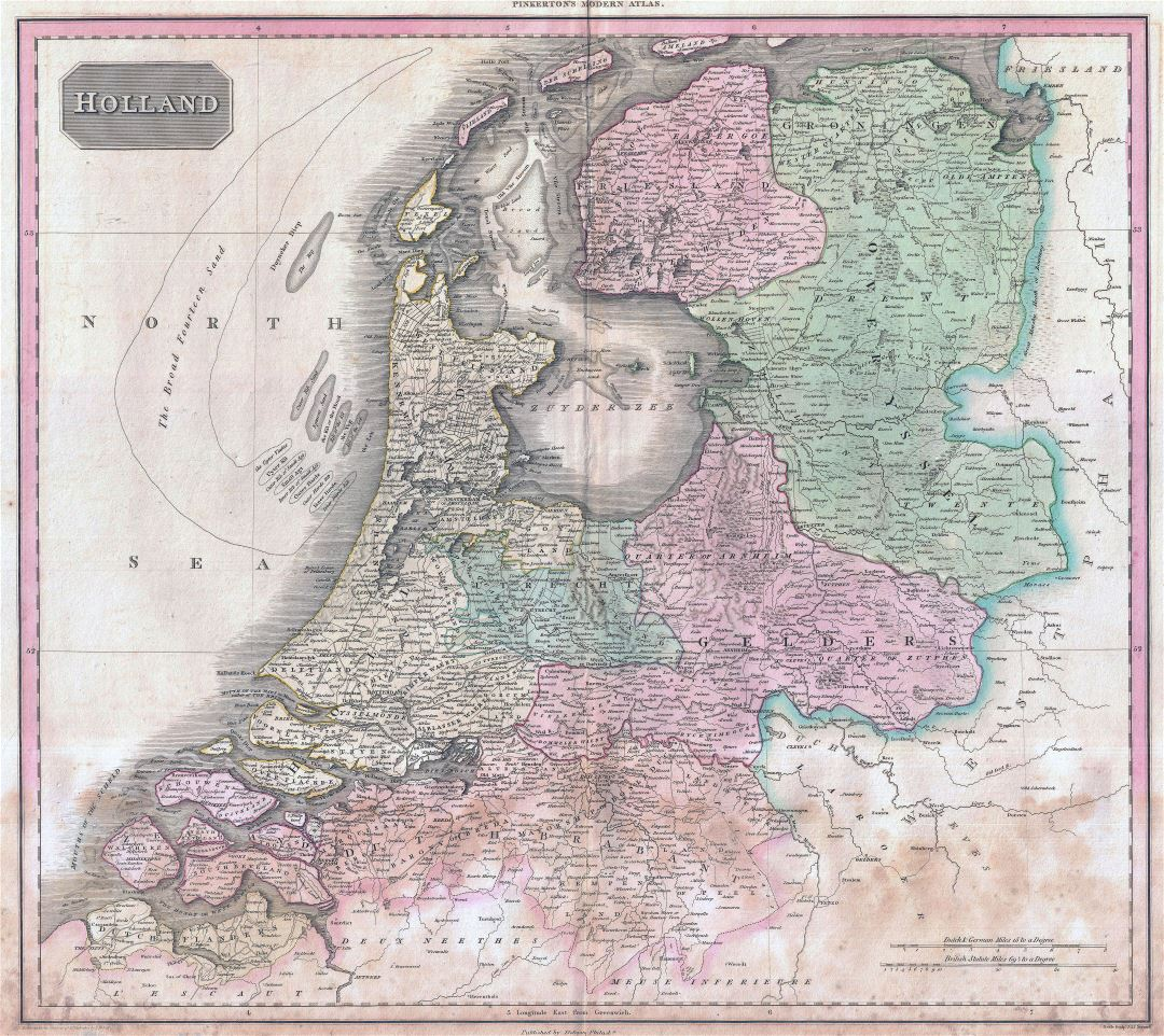 Large scale old political and administrative map of Holland - 1818