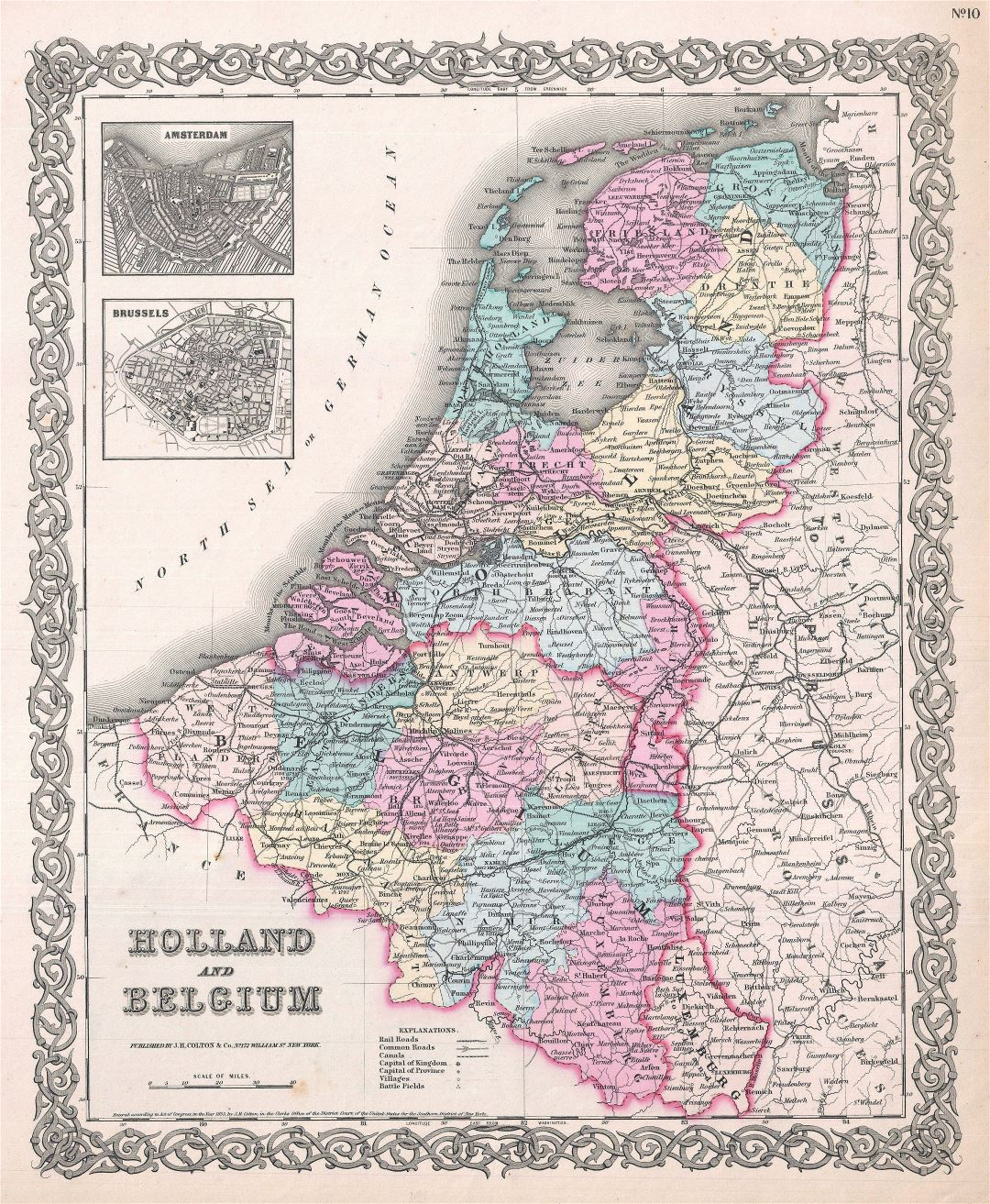 Large scale old political and administrative map of Holland and Belgium with cities - 1855