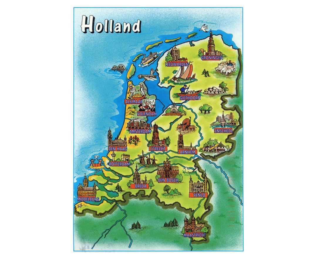 Large tourist illustrated map of Netherlands (Holland)