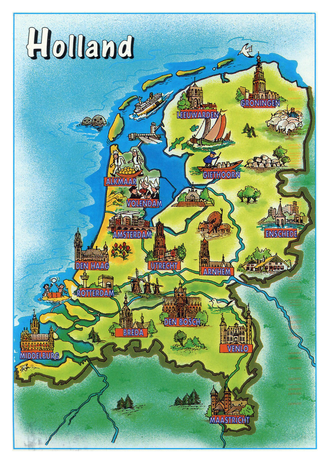 Large tourist illustrated map of Netherlands Holland