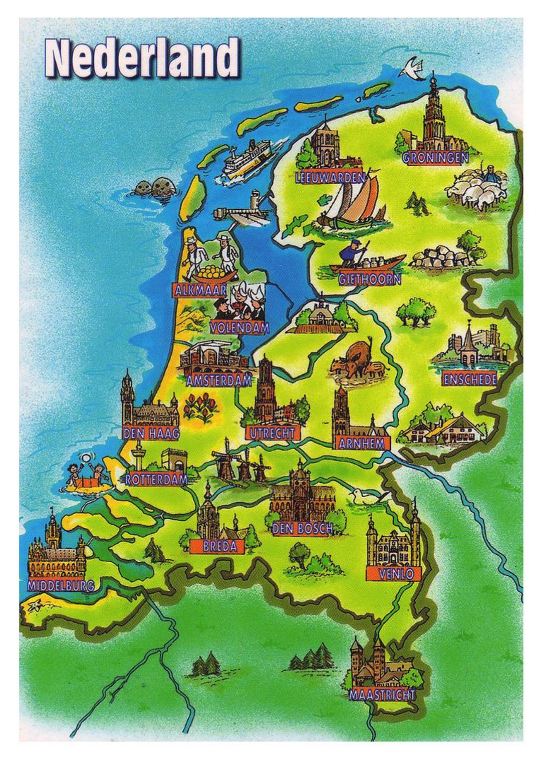 Tourist illustrated map of Netherlands  Netherlands  Europe