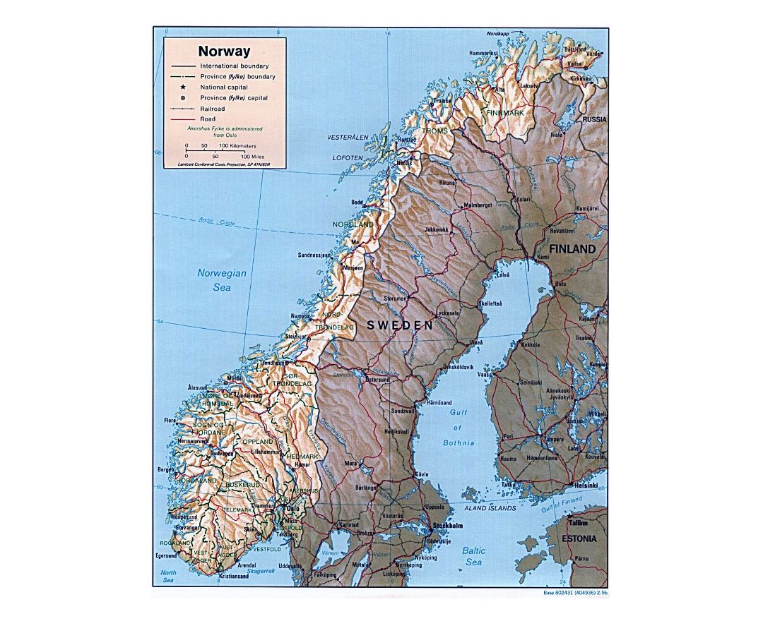 Maps of norway detailed map of norway in english tourist map detailed political and administrative map of norway with relief roads and major cities 1996 publicscrutiny Image collections
