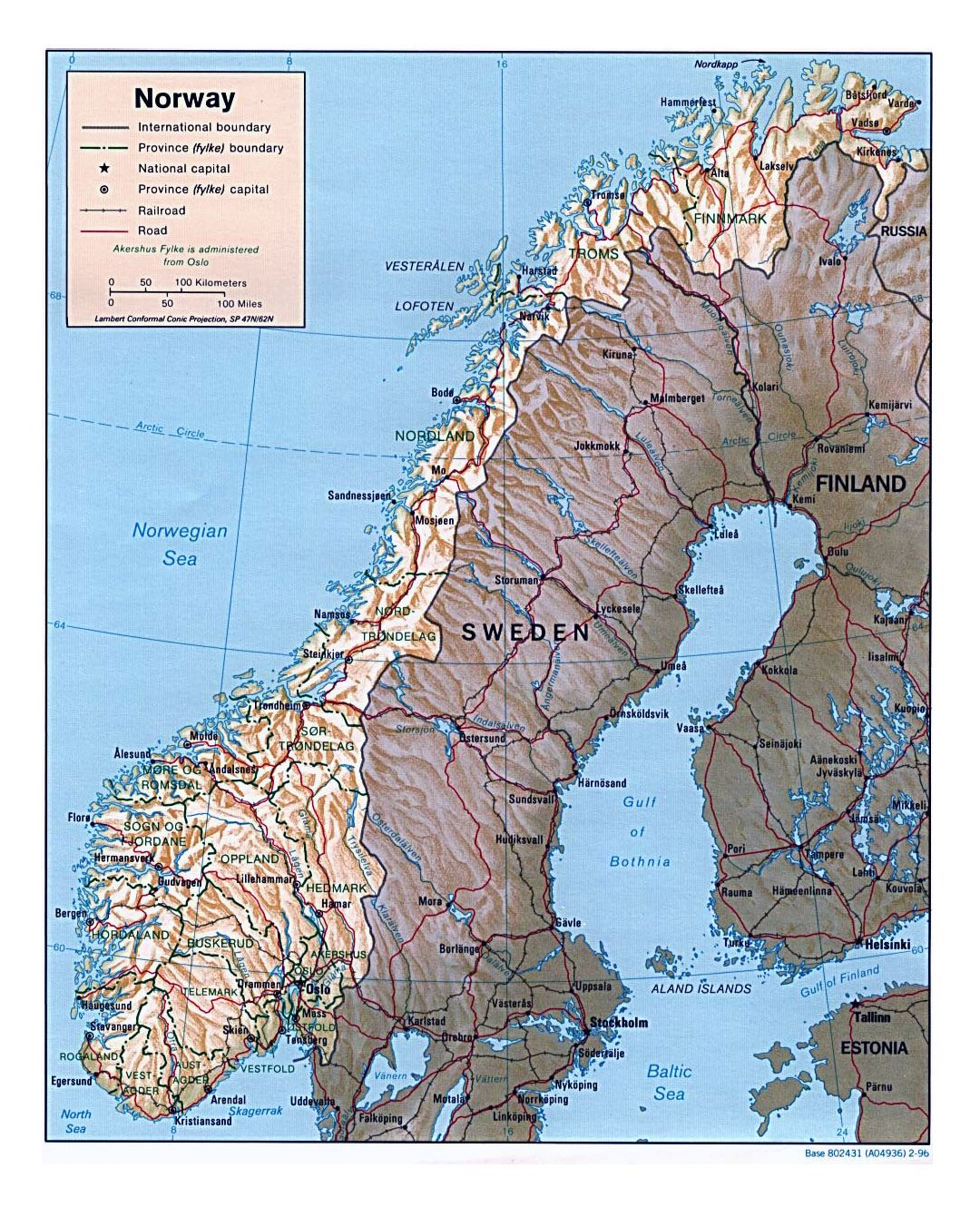 Detailed political and administrative map of Norway with relief, roads and major cities - 1996