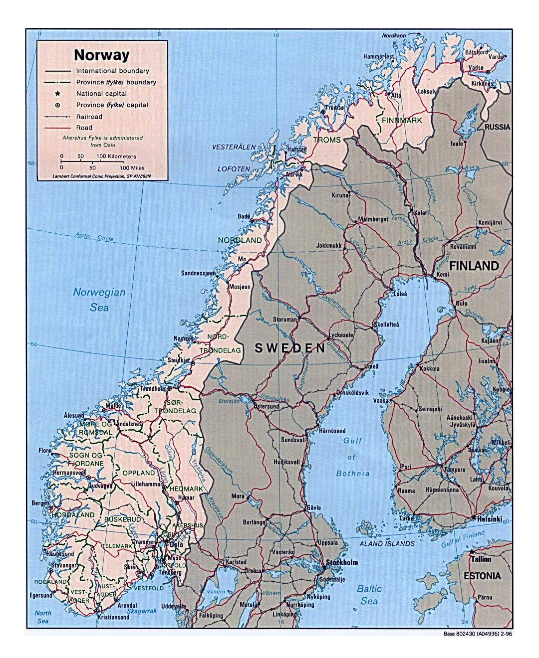 Detailed political and administrative map of Norway with roads and major cities - 1996