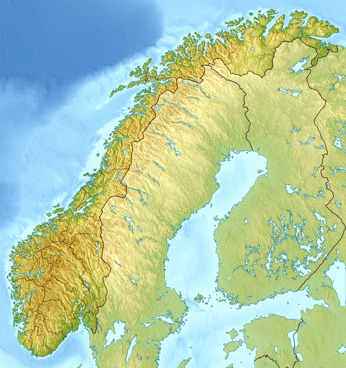 Detailed relief map of Norway | Norway | Europe | Mapsland ...