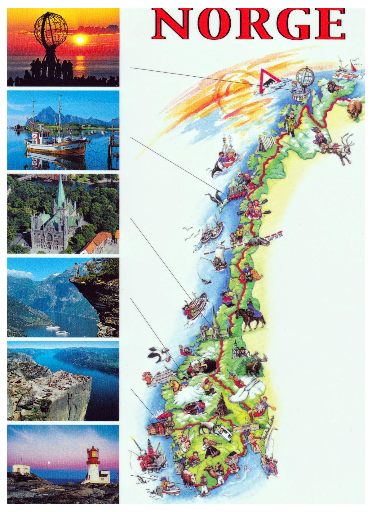 Detailed tourist illustrated map of Norway Norway Europe