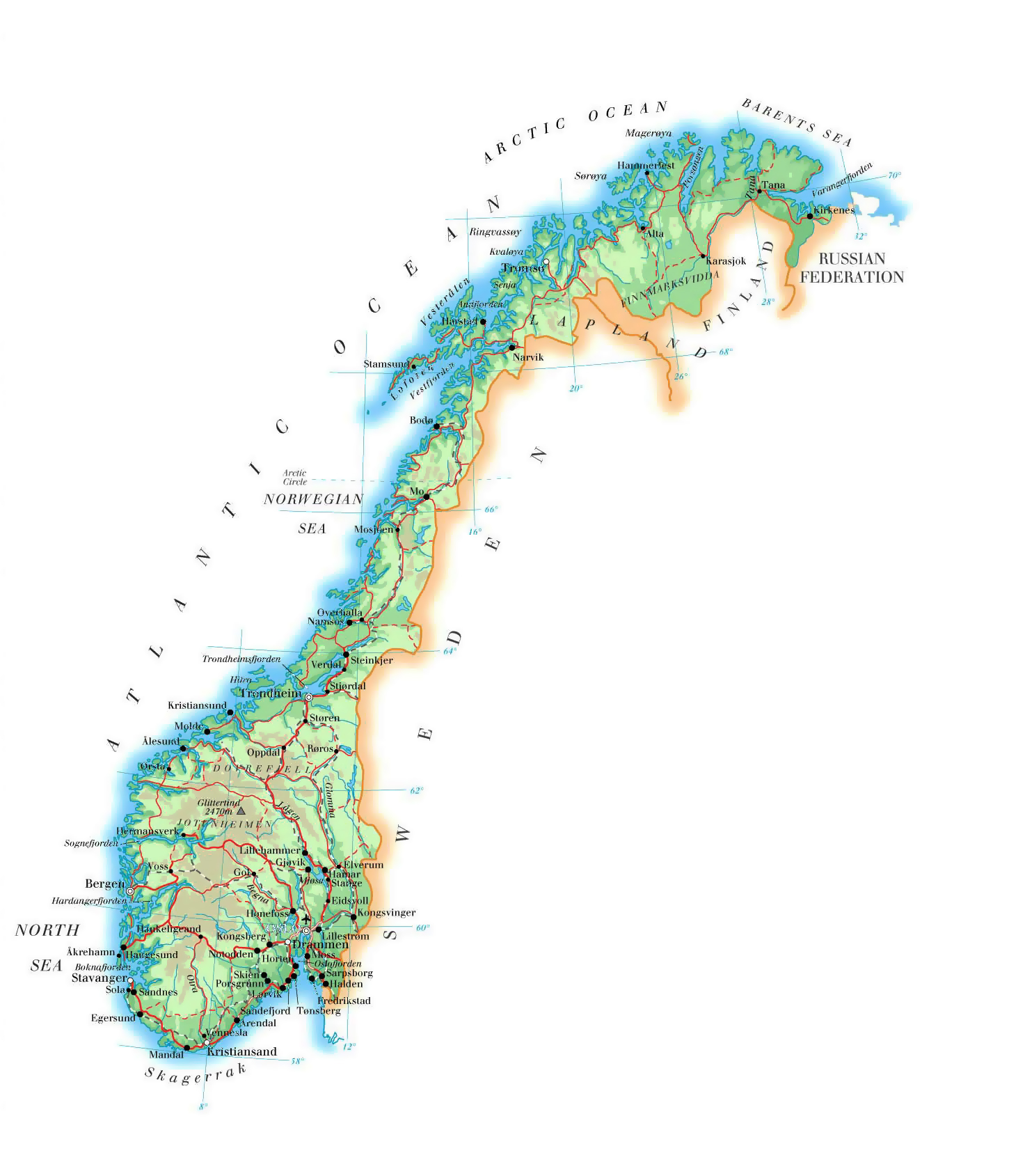 Elevation map of Norway with roads, major cities and ...