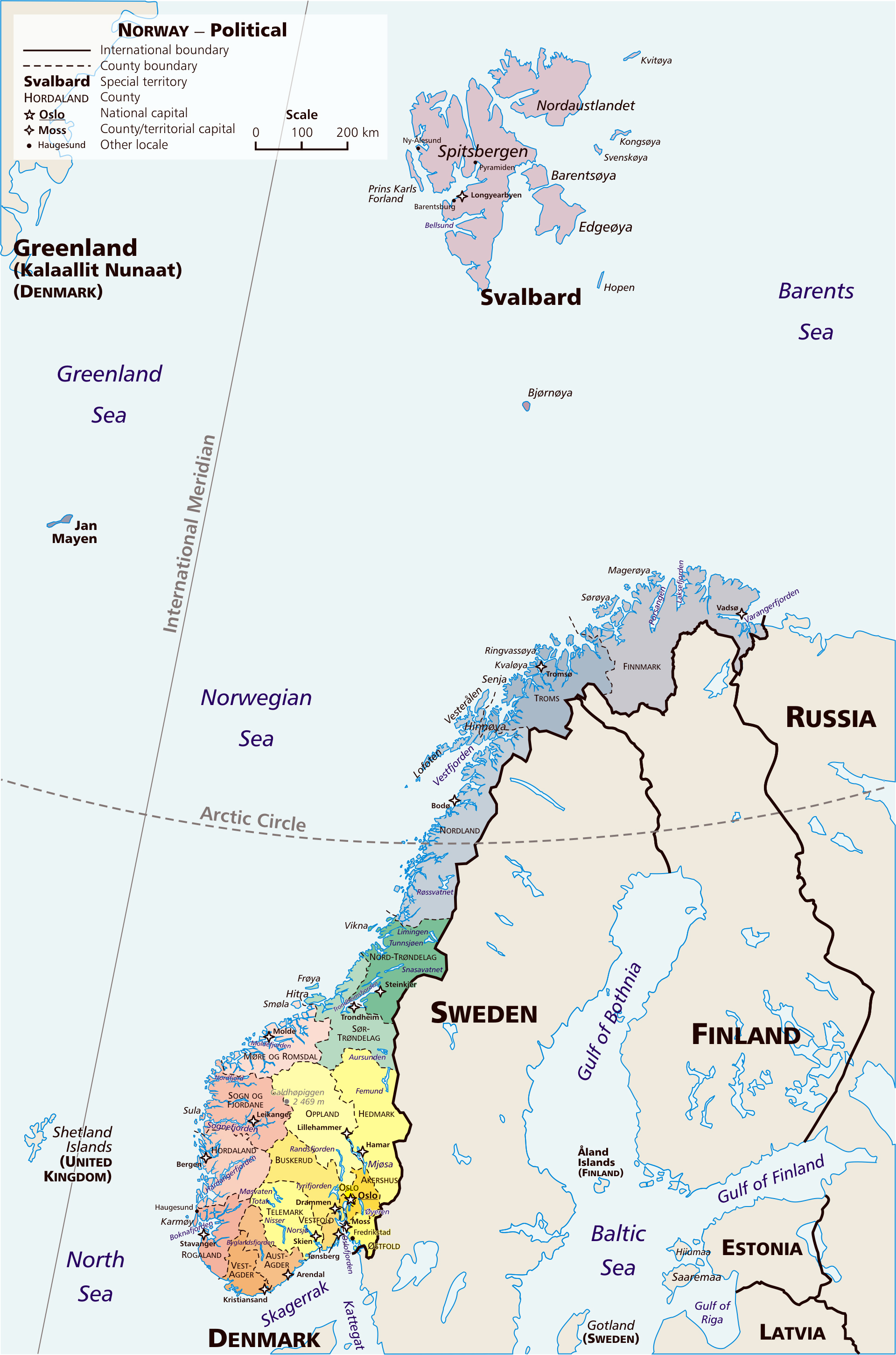 Norway On Map Of Europe.Large Detailed Political And Administrative Map Of Norway With Major