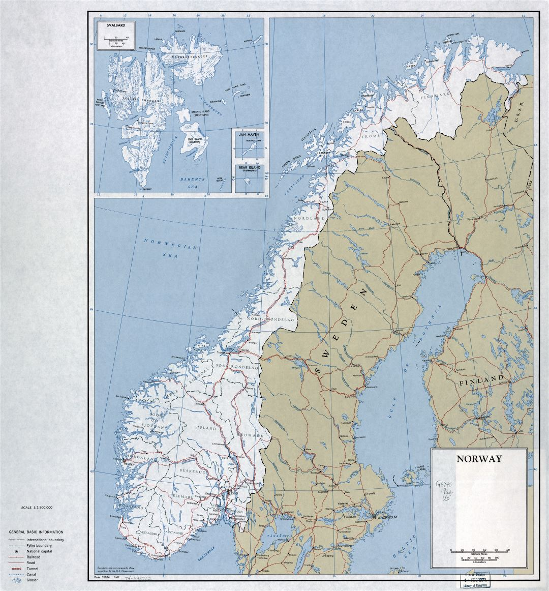 Large detailed political and administrative map of Norway with roads, railroads and major cities - 1962