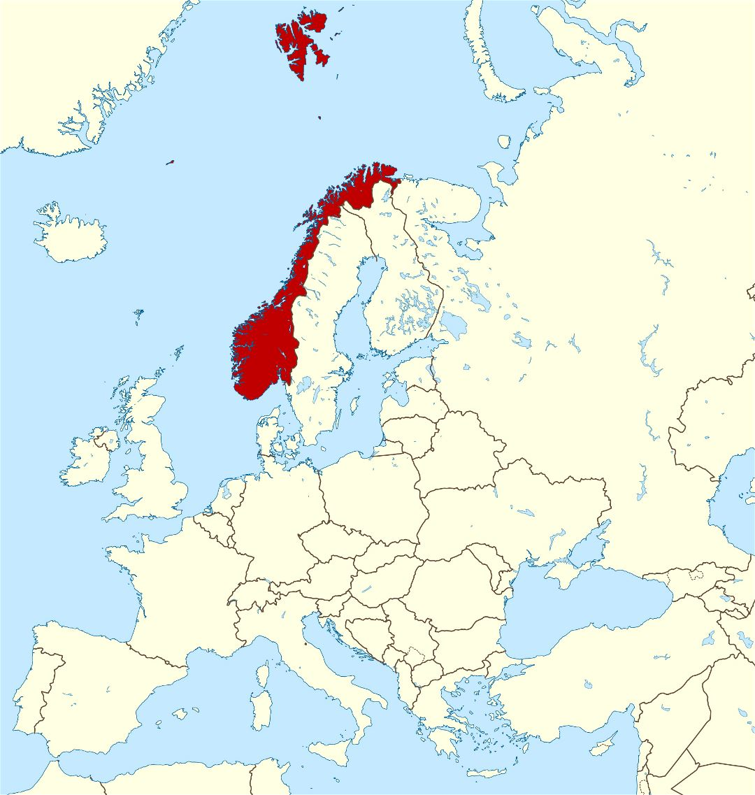 Large location map of Norway in Europe