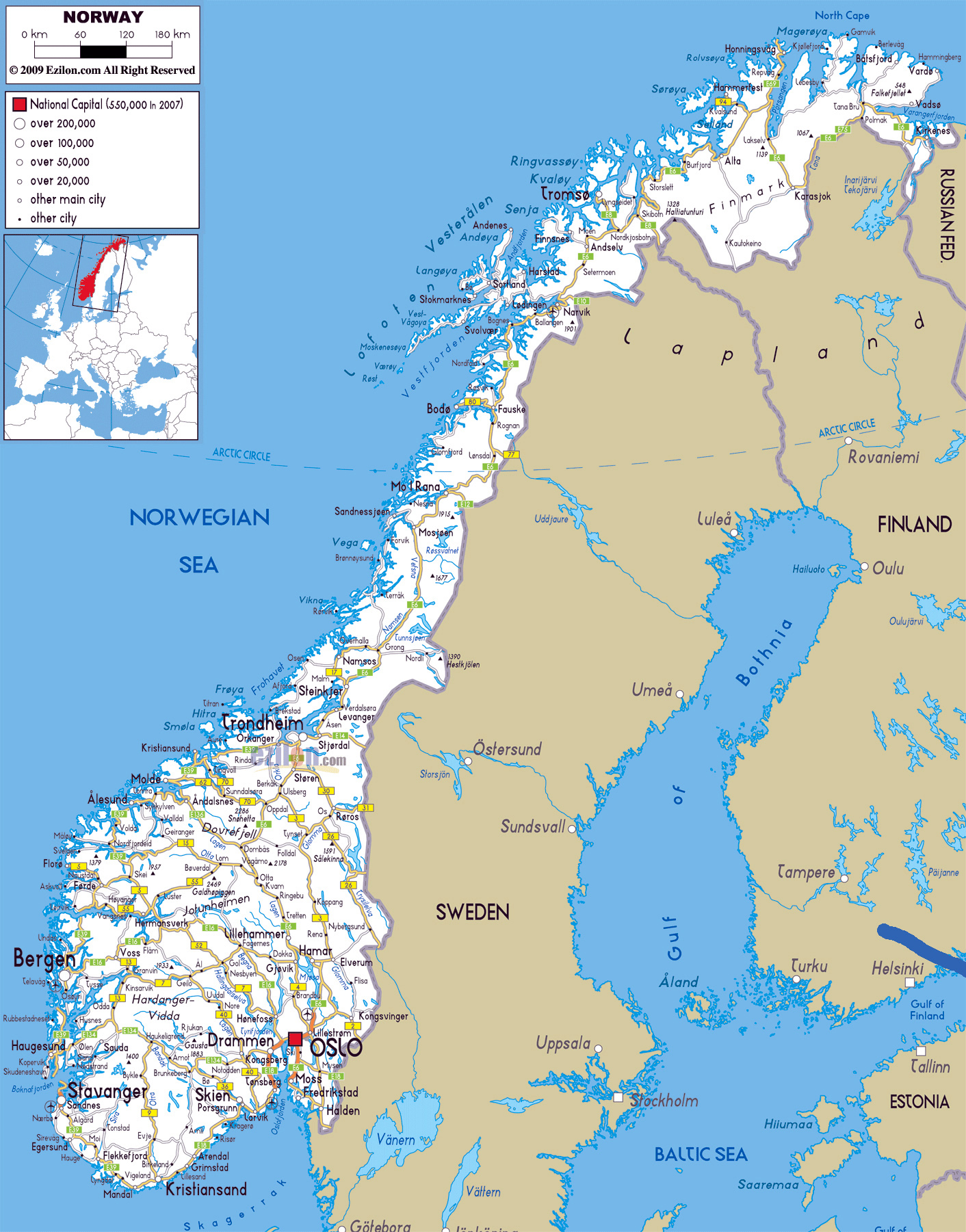 Norway On Map Of Europe.Large Road Map Of Norway With Cities And Airports Norway Europe