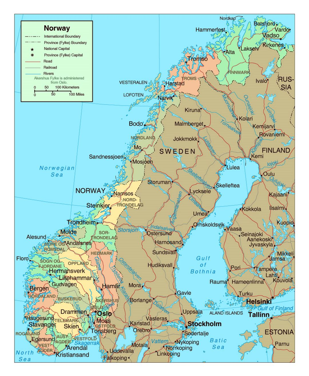 Political And Administrative Map Of Norway With Roads And Major - Map of cities in norway
