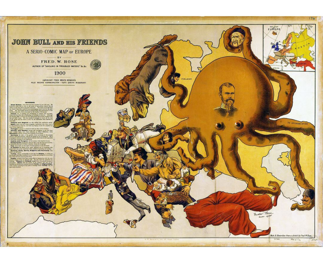 Large detailed a serio comic map of Europe - 1900