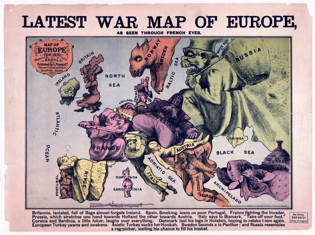Large detailed Latest War map of Europe - 1835-1875