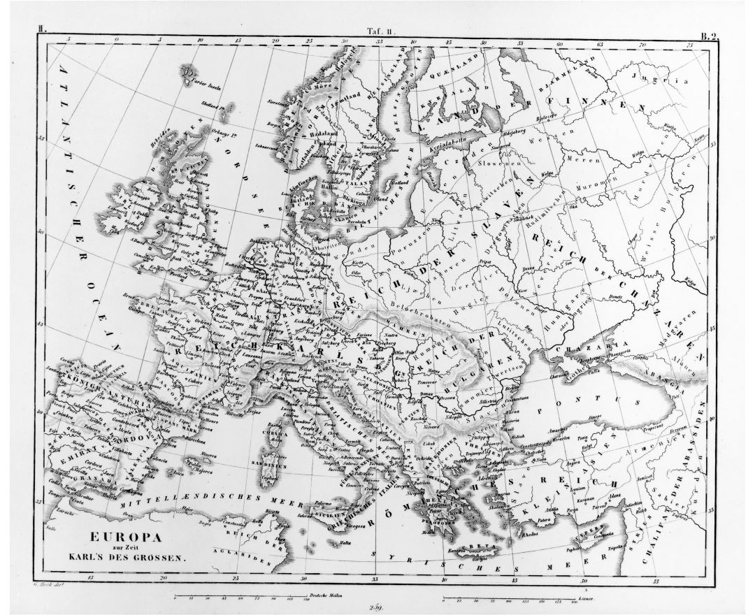 Large detailed old map of Europe - 1851