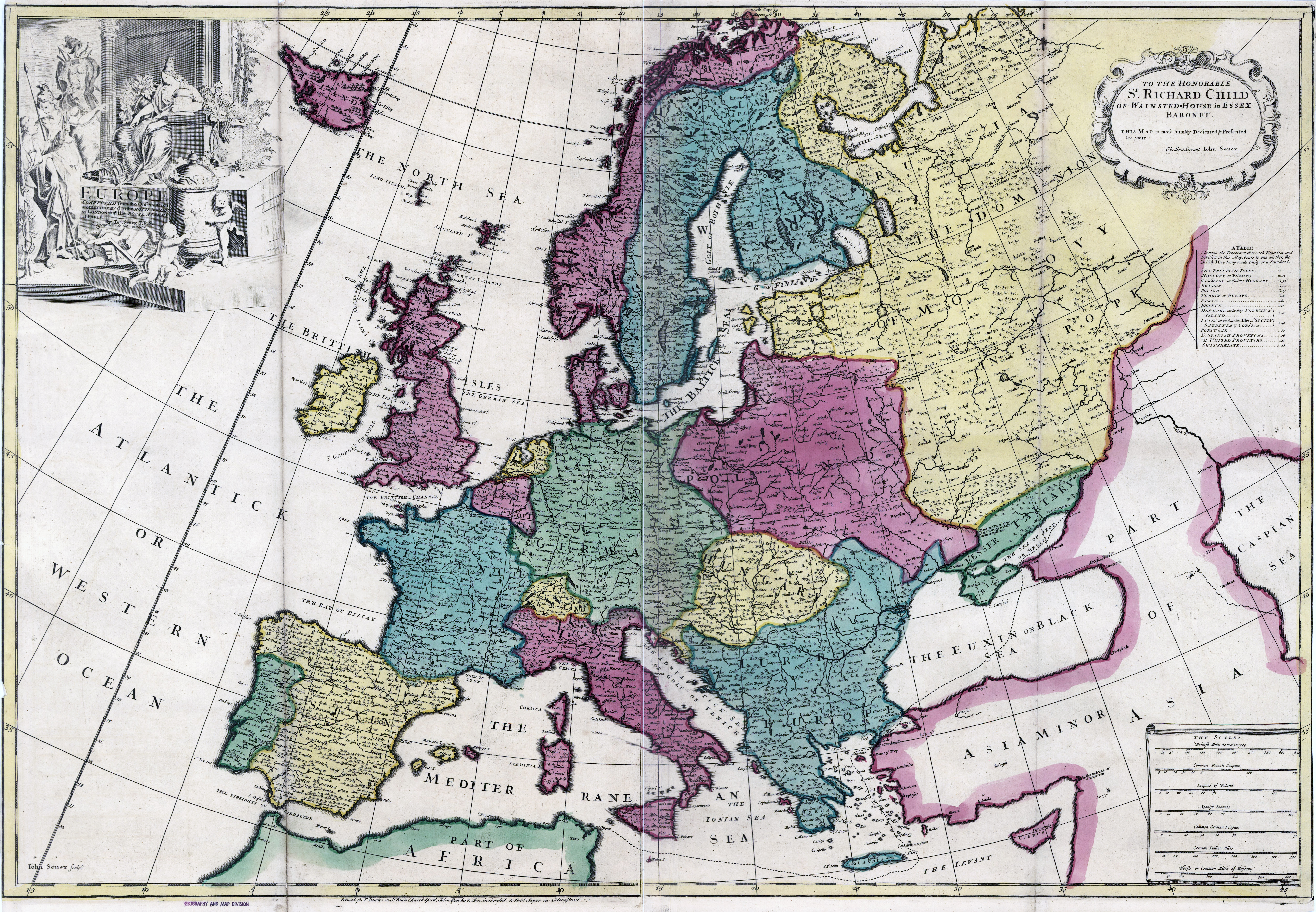Large detailed old political map of Europe   17xx | Old maps of