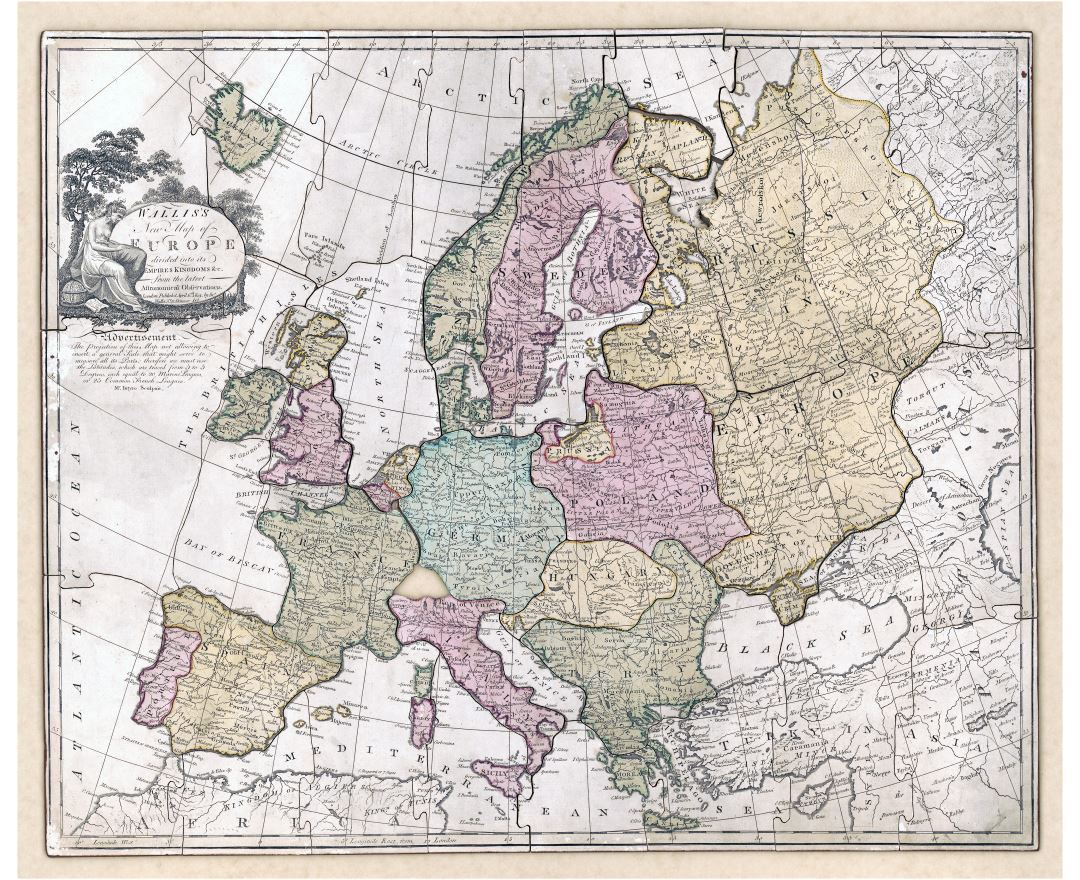 Large detailed old political map of Europe - 1814