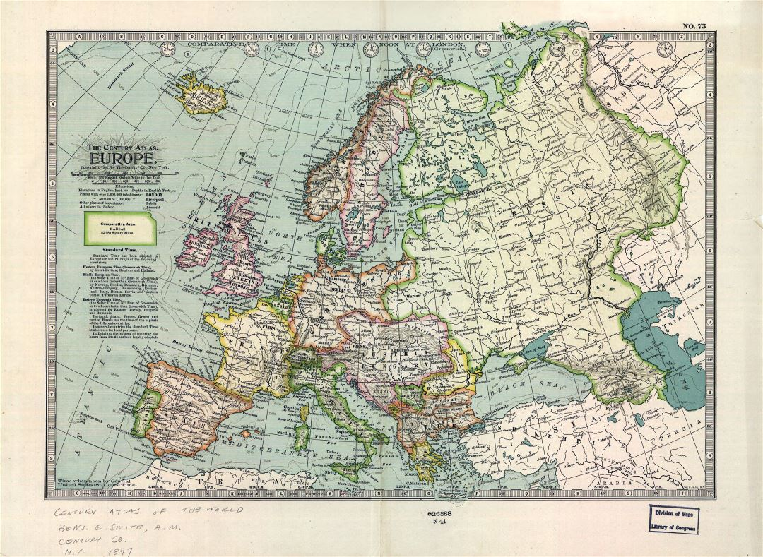 Large detailed old political map of Europe - 1897