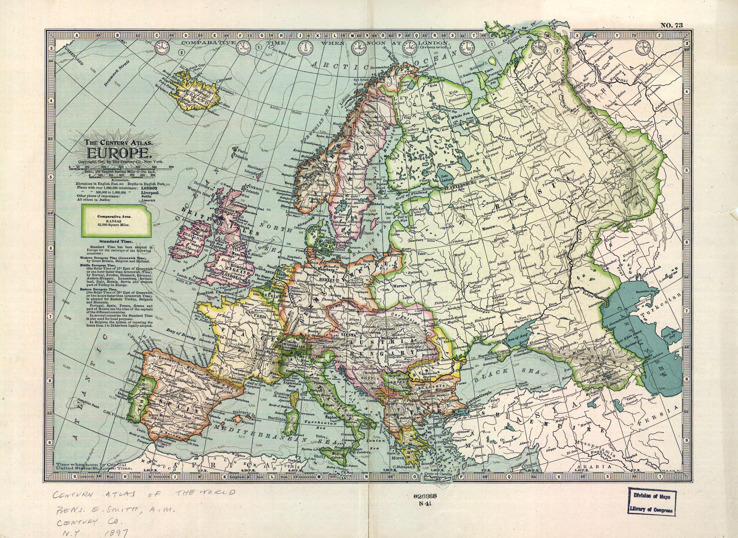 Large detailed old political map of Europe 1897 Old maps of