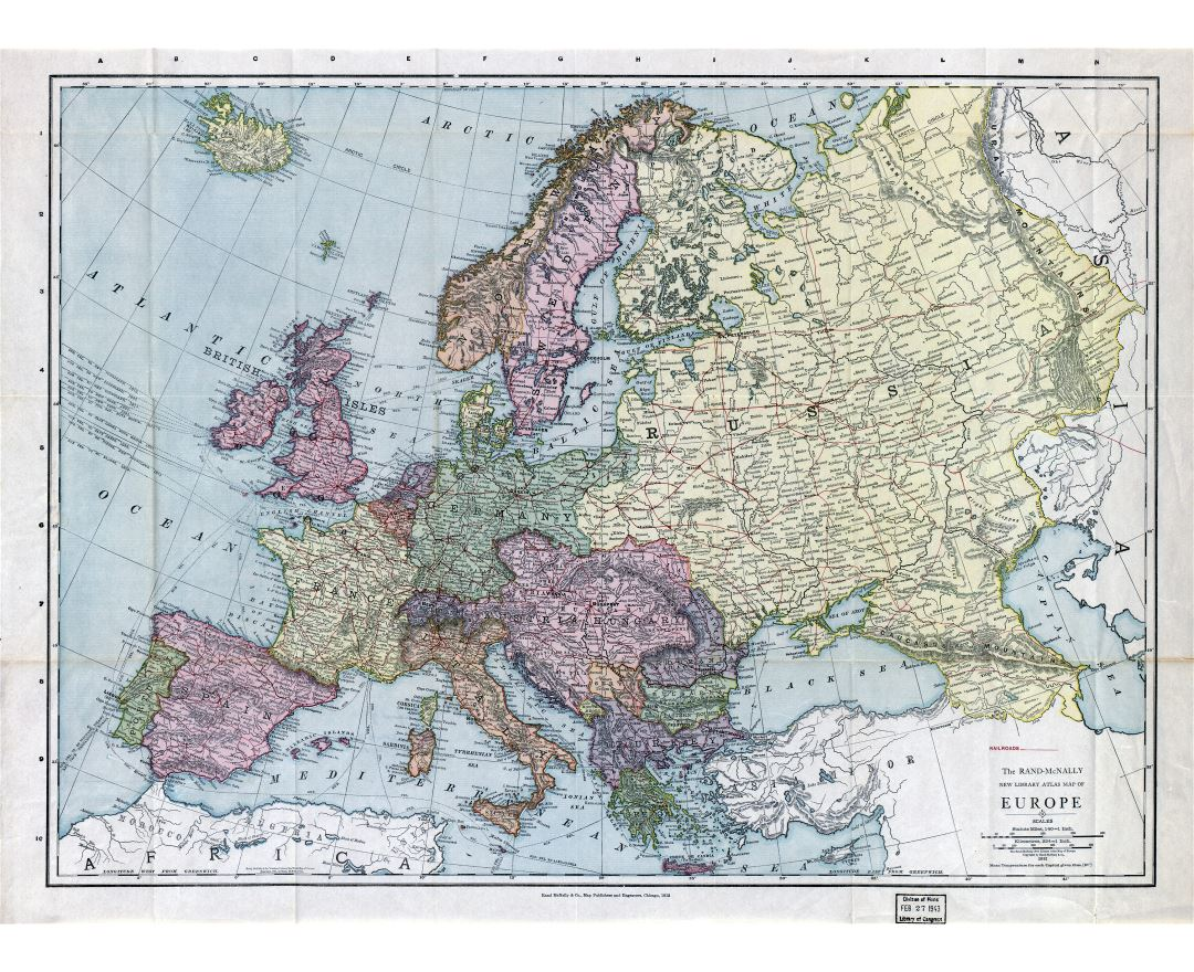 Large detailed old political map of Europe - 1912