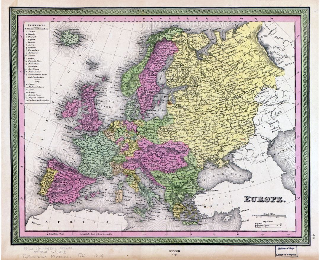 Large detailed old political map of Europe with cities - 1849