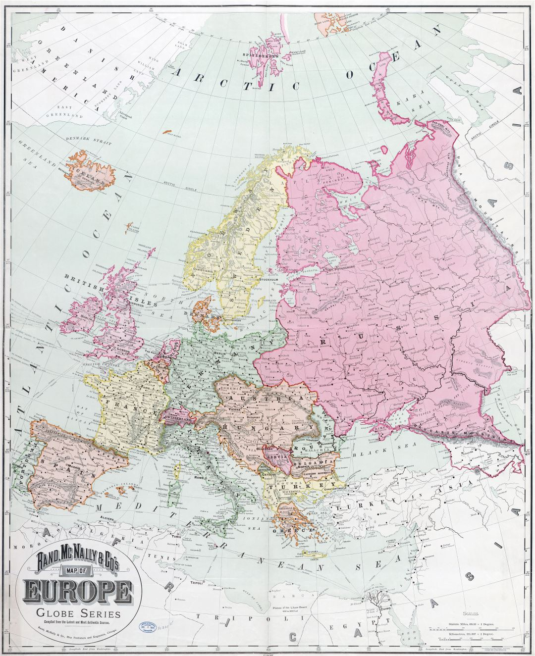 Large detailed old political map of Europe with cities - 1894
