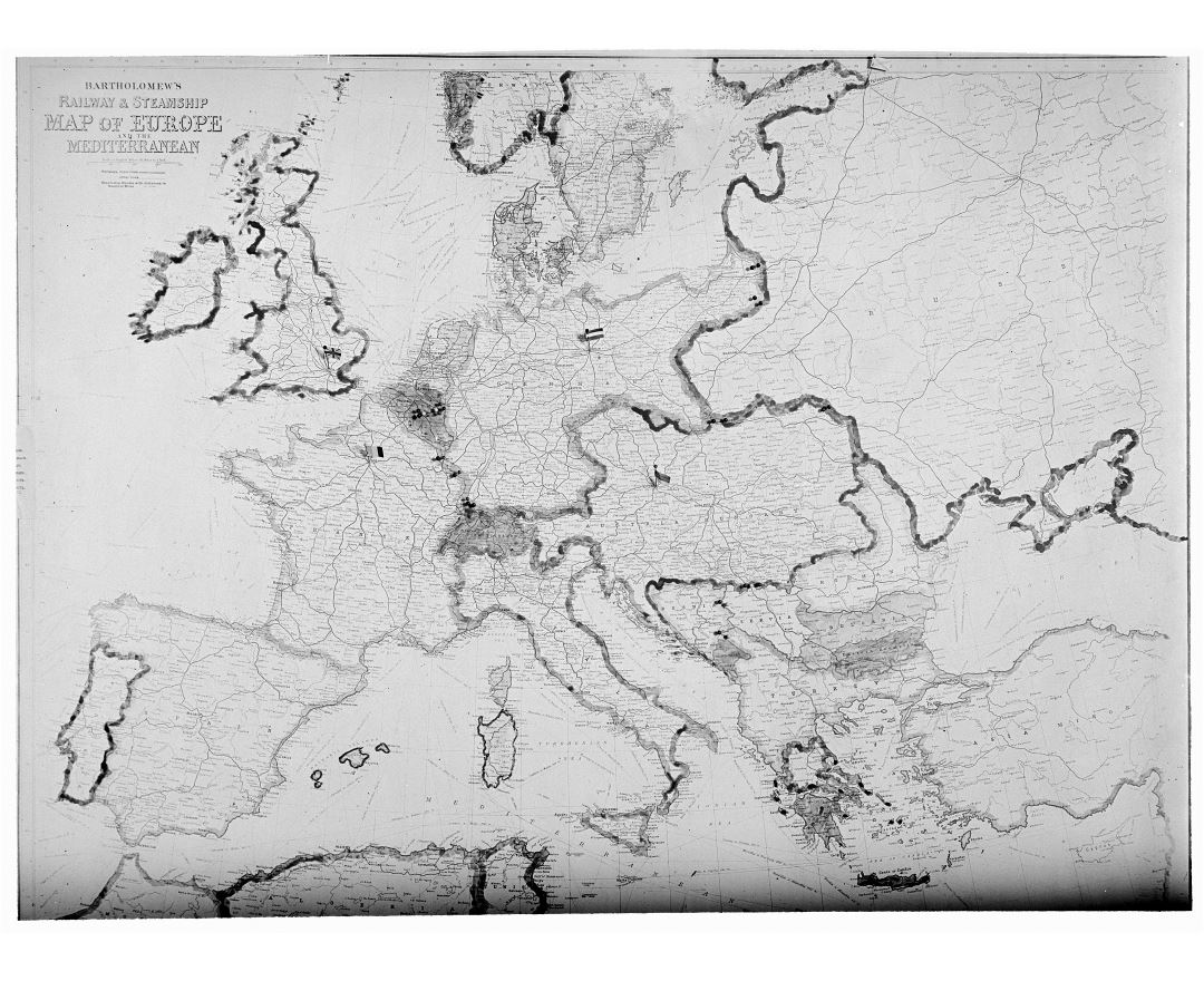 Large detailed old railway and steamship map of Europe - 1913