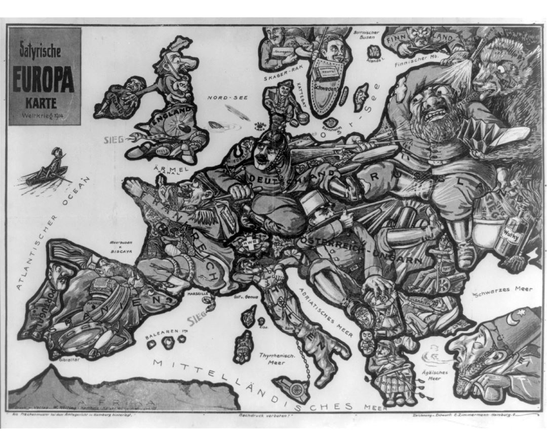 Large old satirical map of Europe - 1914