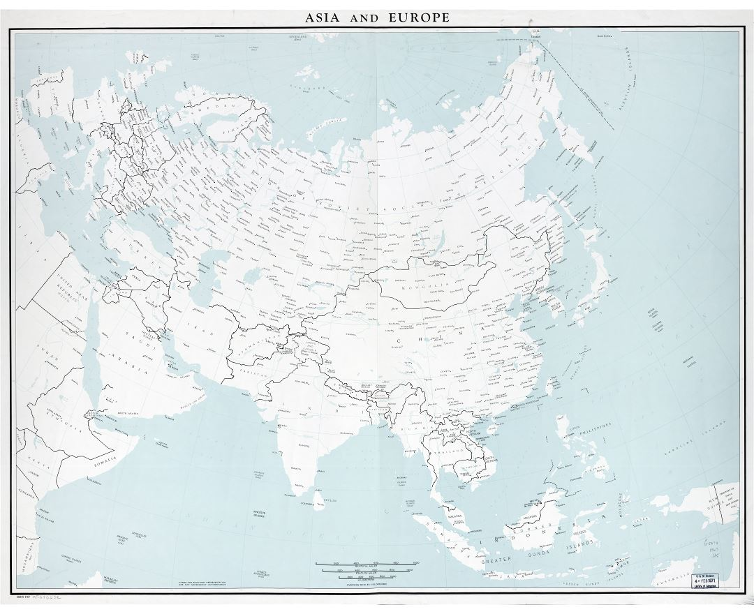 Large scale old political map of Asia and Europe - 1967