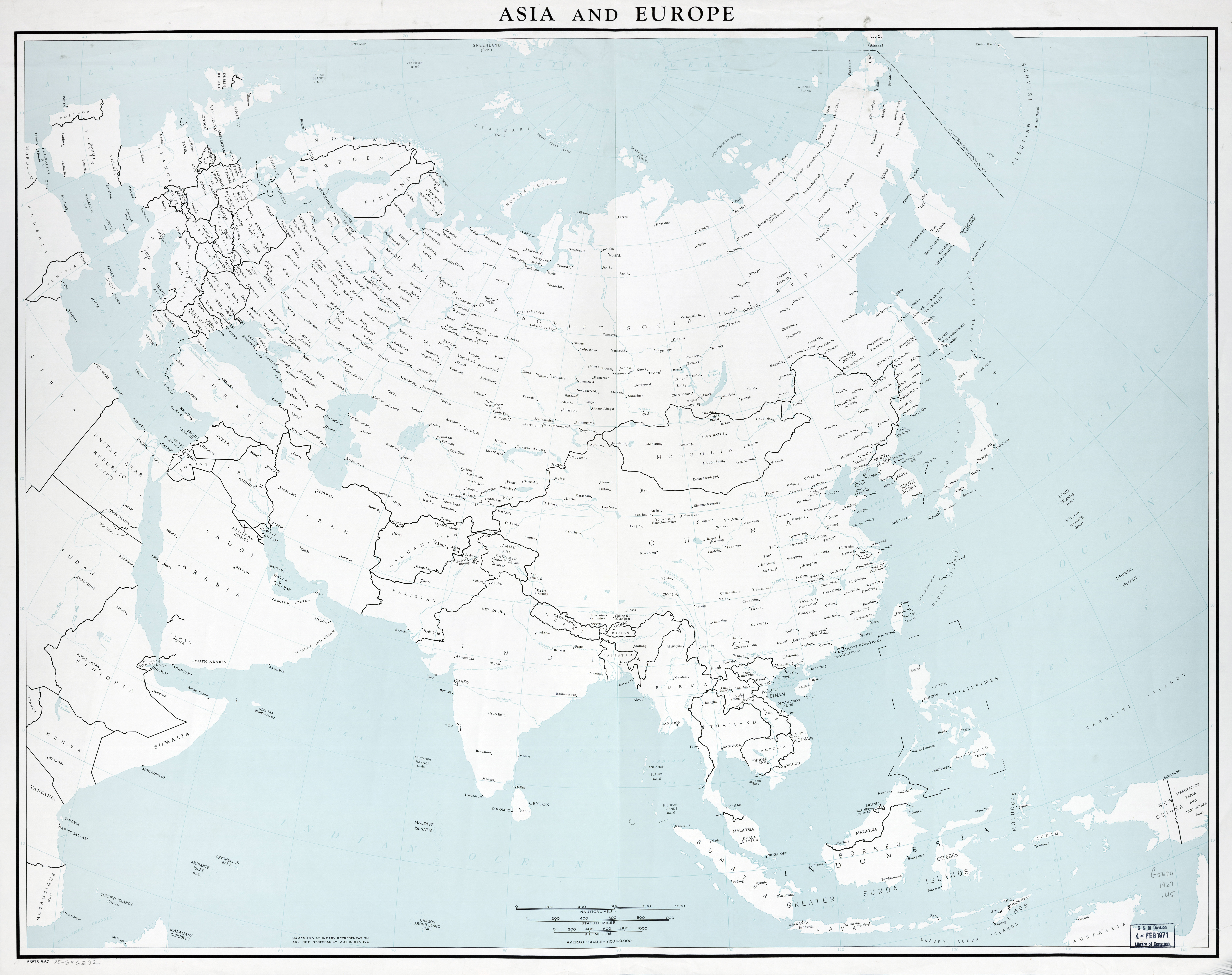 Map Of Europe With Scale.Large Scale Old Political Map Of Asia And Europe 1967 Old Maps