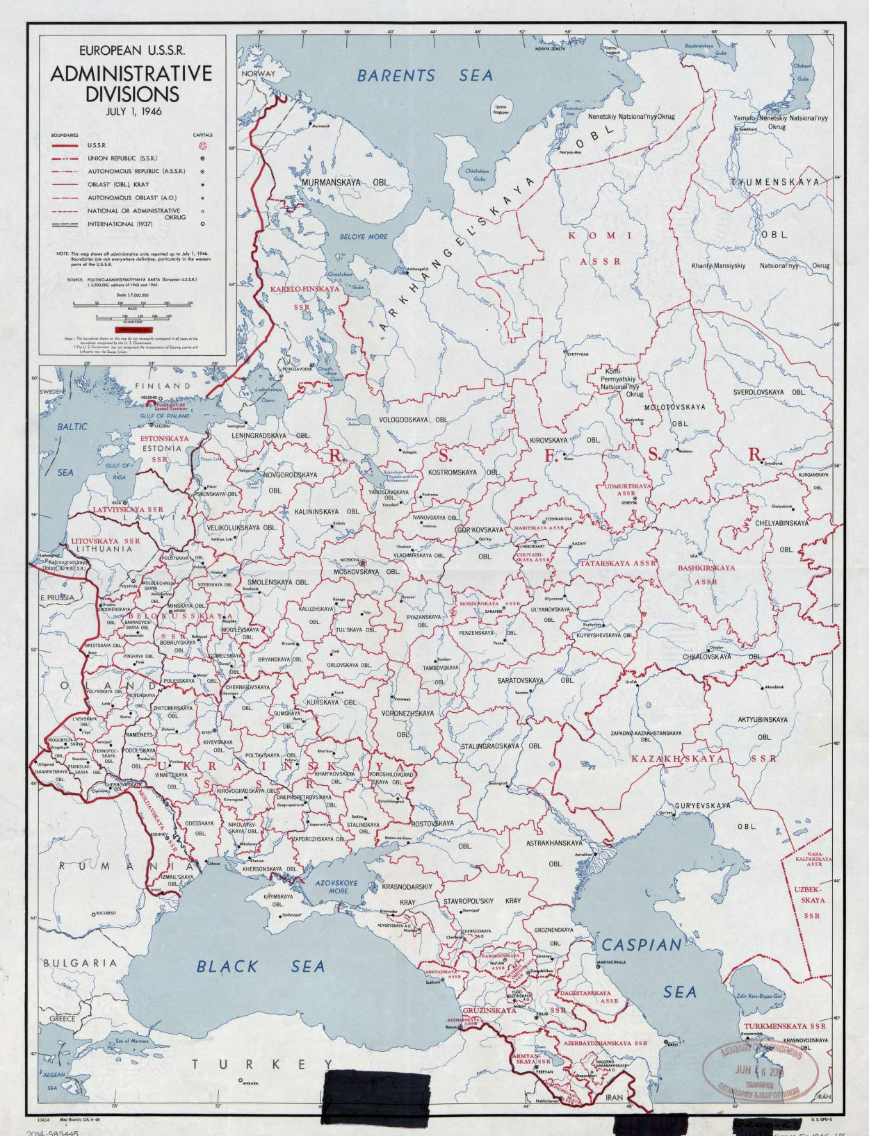 Detailed old administrative divisions map of European U.S.S.R. ...