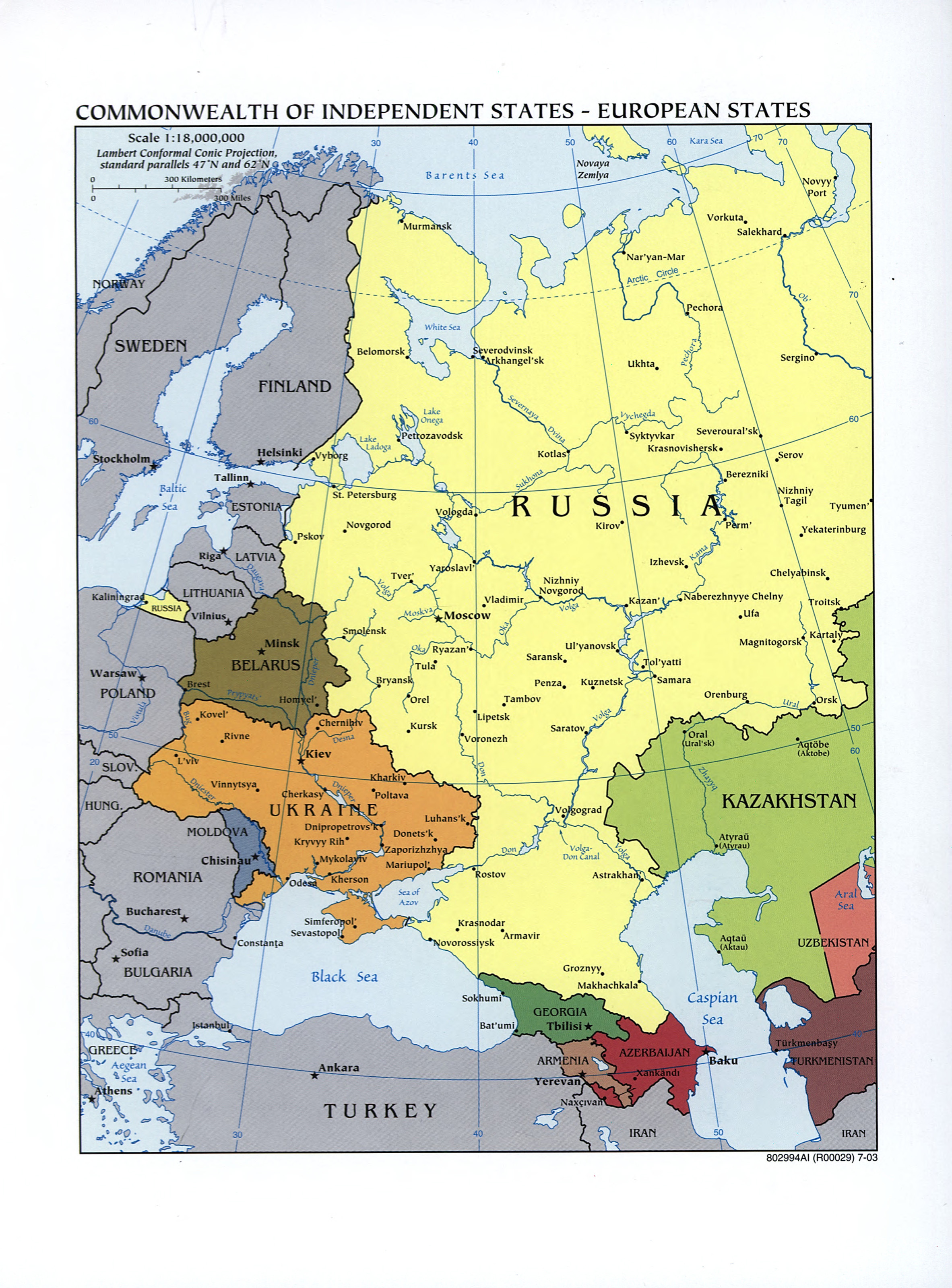 Large Detailed Commonwealth Of Independent States Map European - Saransk map