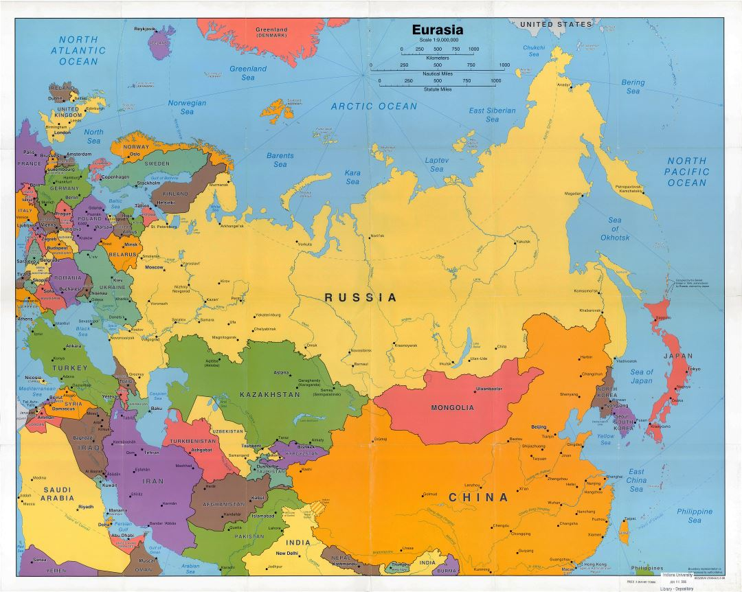 Large scale political map of Eurasia - 2006