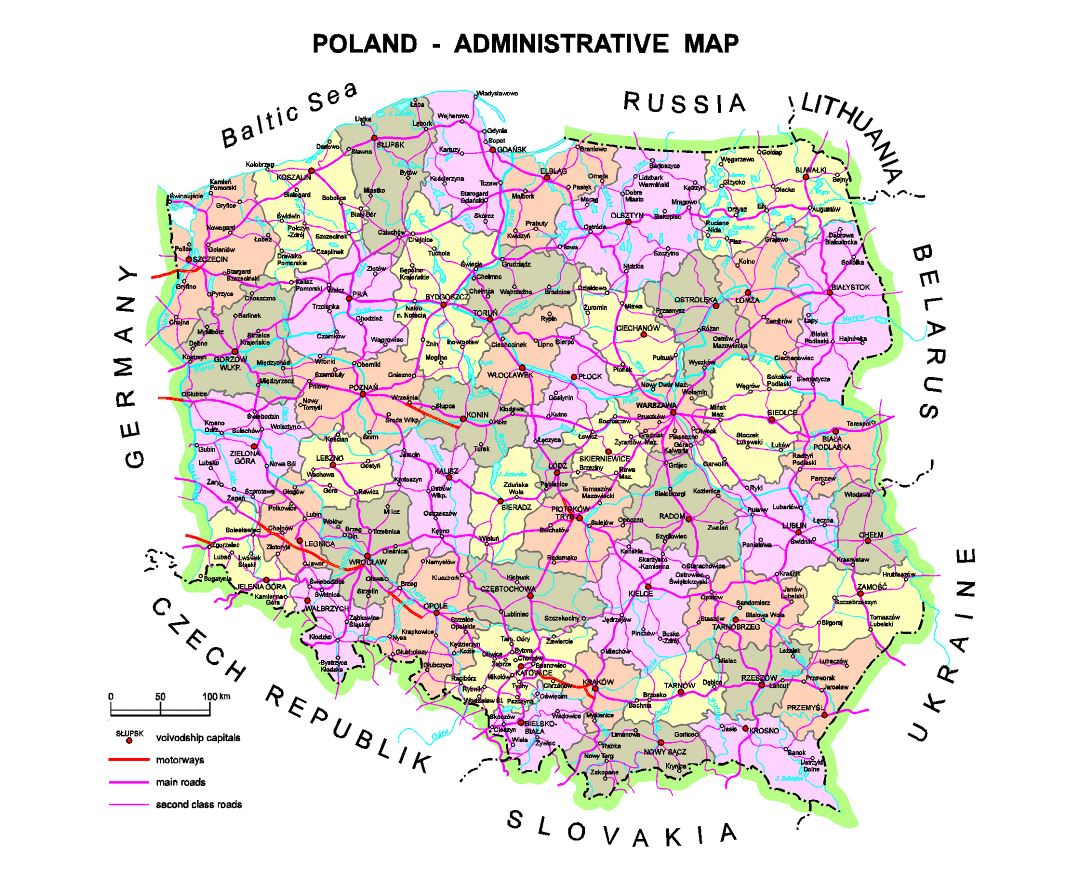 Detailed administrative map of Poland