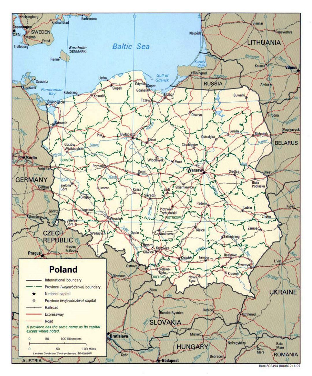 Detailed political and administrative map of Poland - 1997