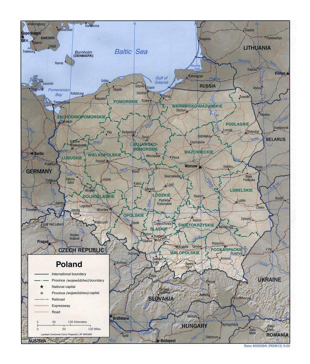 Detailed political and administrative map of Poland with relief, roads, railroads and major cities - 2000