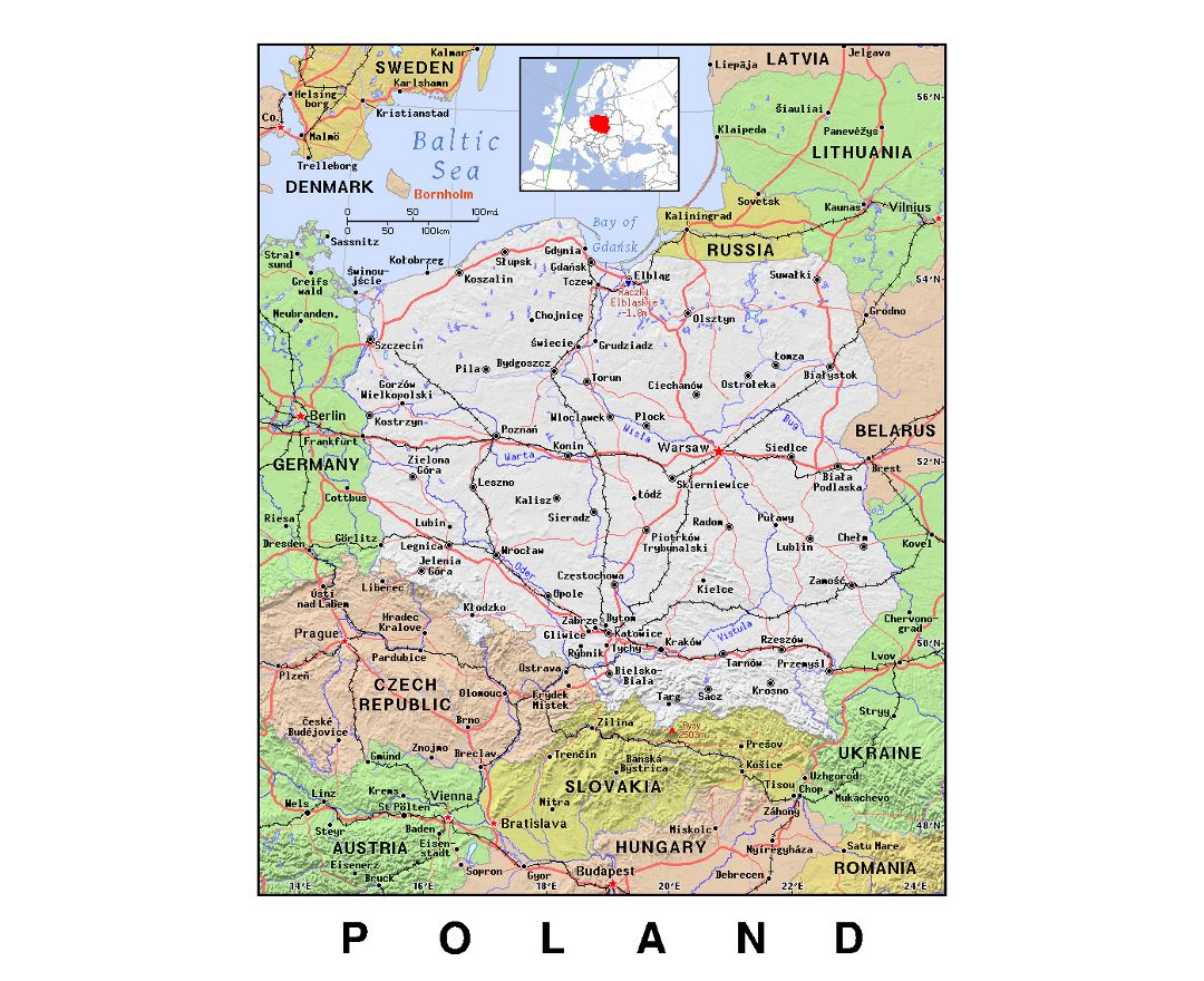 Detailed political map of Poland with relief