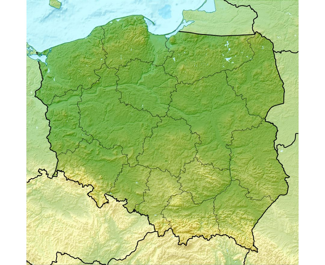 Detailed relief map of Poland