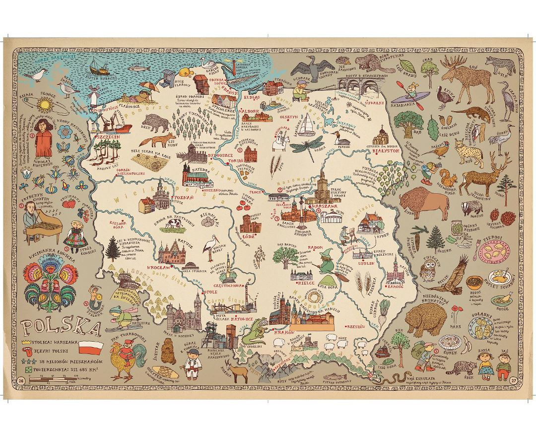 Detailed tourist illustrated map of Poland