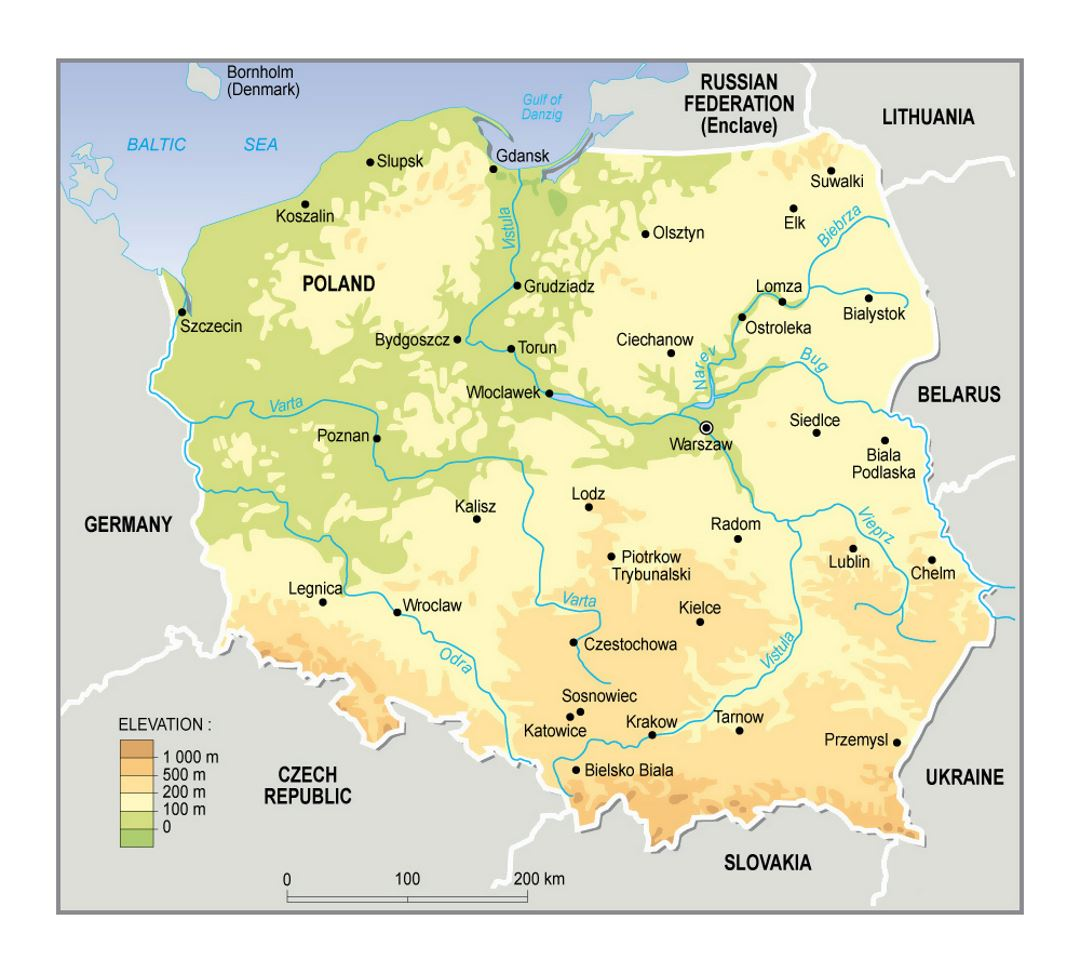 Elevation Map Of Poland Poland Europe Mapsland Maps Of The - Poland map