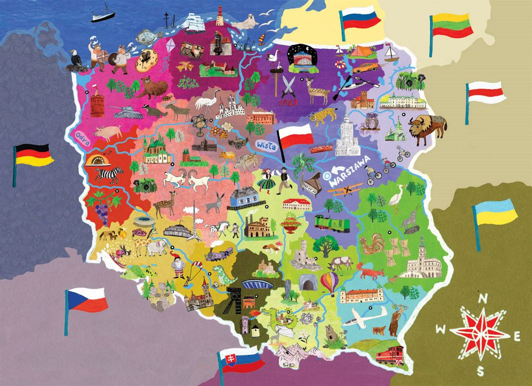 Illustrated map of Poland