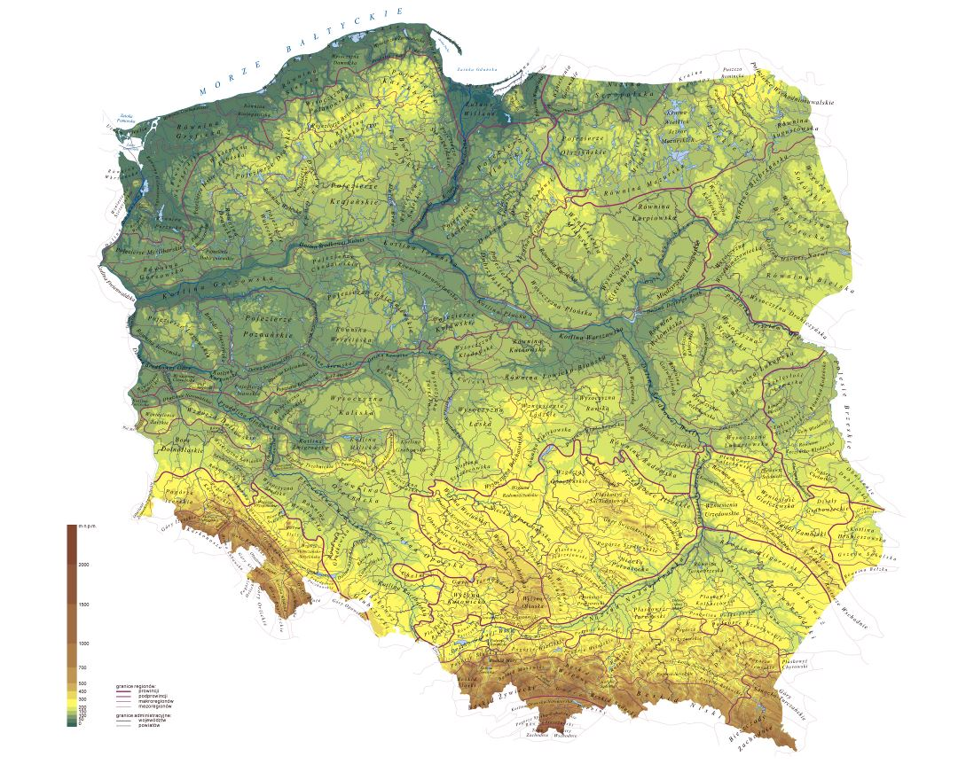 Large detailed physical map of Poland