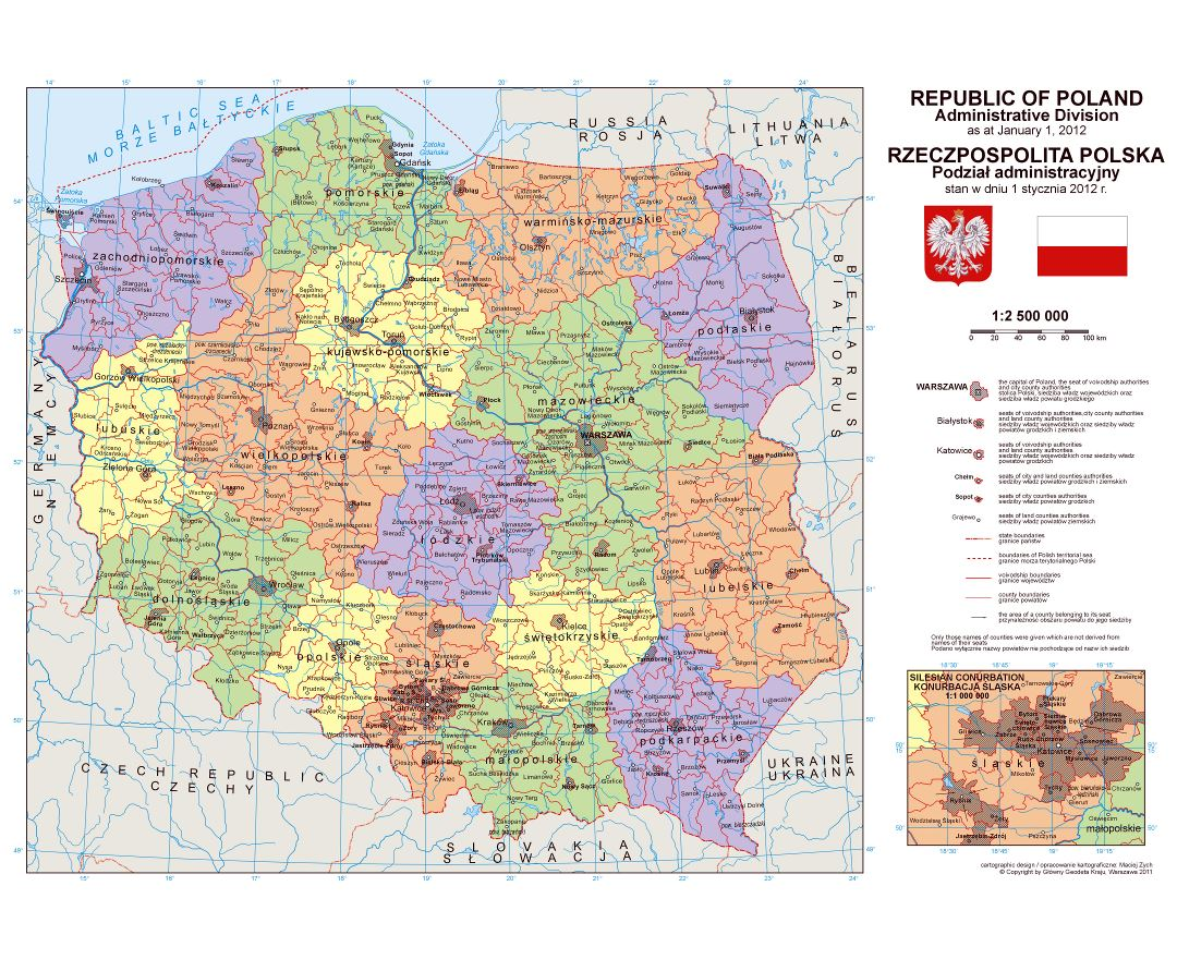 Large detailed political and administrative map of Poland with cities